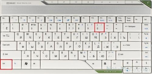 Сочетание клавиш Ctrl+0