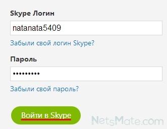 """Нажимаем """"Войти в Skype"""""""