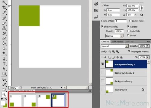 Создаем 4 кадра на панели анимации