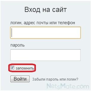 Возможность запомнить логин и пароль при входе