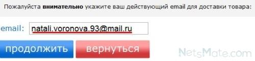 Вписываем адрес электронной почты