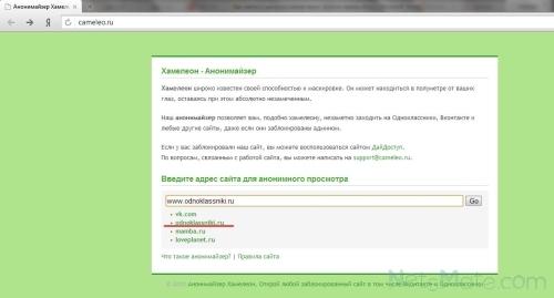 Интерфейс cameleo.ru