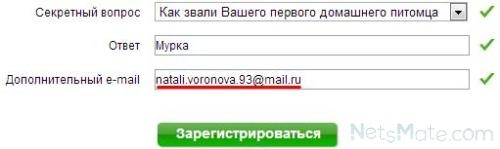 Вводим дополнительный адрес почты